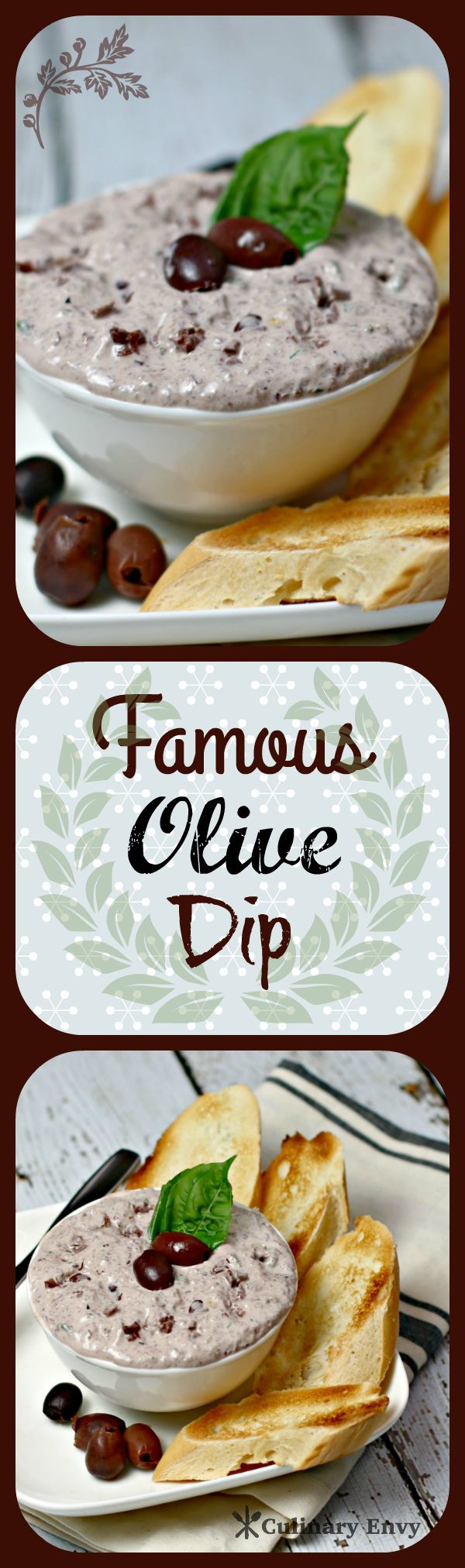 Famous Olive Dip is Only 6 ingredients.  Very rich, tangy and flavorful. A HUGE favorite at parties! It will be the new dip hit at any festivity!