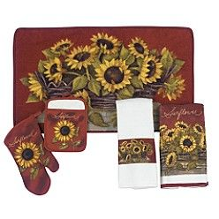 Essential HomeSunflower Basket Kitchen Ensemble --- I need! It will match our red plates & I can still do sunflowers :)