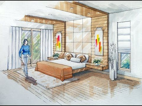 2 Point Interior Design Perspective Drawing Manual Rendering How To Tutorial Lessons 3