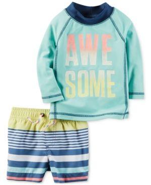 Carter's 2-Pc. Awesome Rashguard & Striped Swim Trunks Set, Baby Boy (0-24 Months) - Green