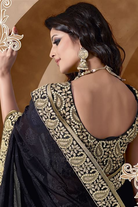 Embroidered Black Jacquard Party Wear Saree