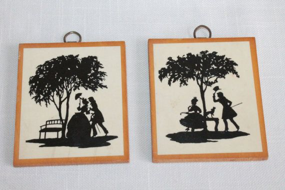 TWO  Miniature Courting Couples Silhouettes by OhThatsAFind
