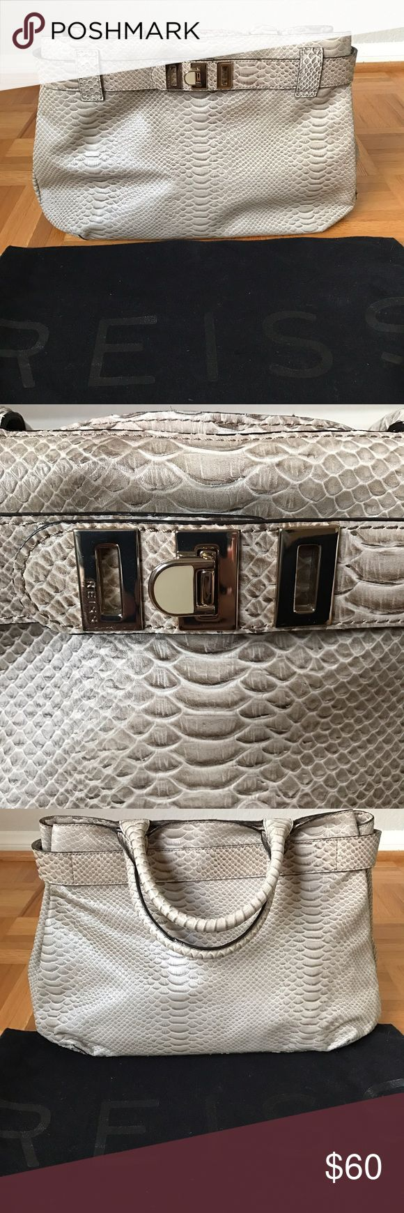 Bag Reiss snake print bag, greige color, in excellent condition. Two large compartments. Reiss Bags Totes