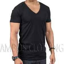 New Sada Black Deep V Neck Mens Short Sleeve Basic Casual Tee T Shirt Size 3XL