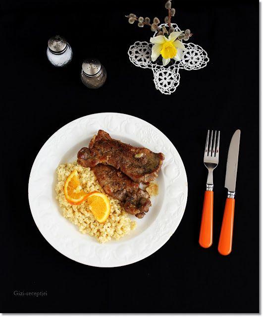 Gizi-receptjei.  Várok mindenkit.: Sült hús narancsos tarhonya-rizottóval.