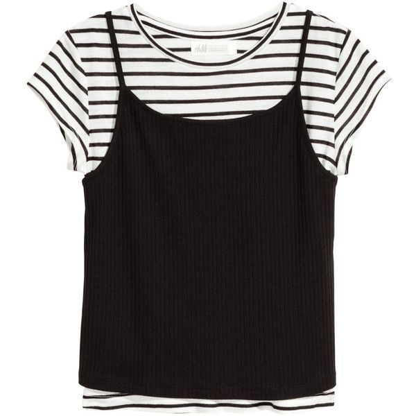 Double-layered Top $14.99 (20 AUD) ❤ liked on Polyvore featuring tops, double layer top, striped jersey, stripe top, striped top and black and white jersey