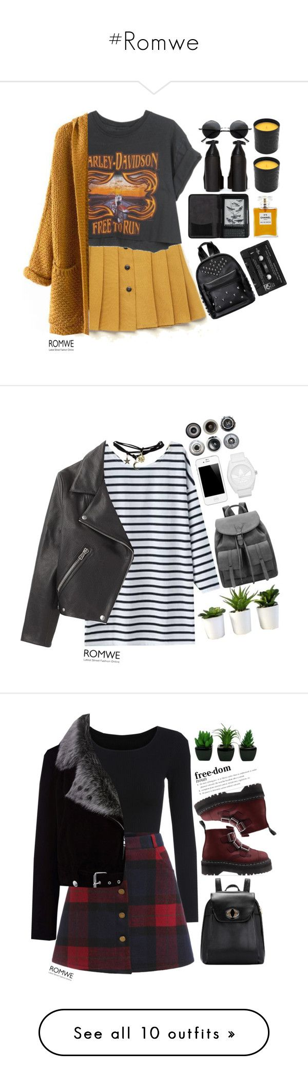 """#Romwe"" by credentovideos ❤ liked on Polyvore featuring Harley-Davidson, Floyd, Cole Haan, Retrò, Jeffrey Campbell, Nicole Miller, Chanel, Acne Studios, adidas Originals and Wet Seal"