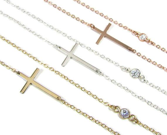 Kelly Ripa Sideways Cross Necklace with Bezel Set by gemsinvogue