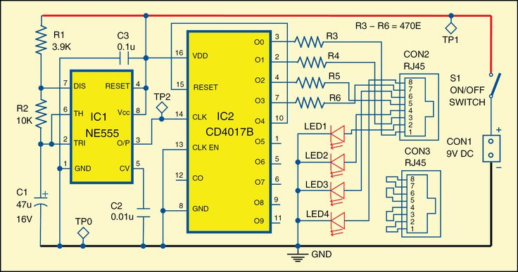 Described here is a simple RJ45 cable tester circuit which