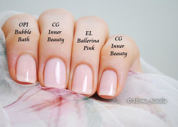 China Glaze Inner Beauty vs. OPI Bubble Bath, Estee Lauder Ballerina Pink | by Mirma Natalia