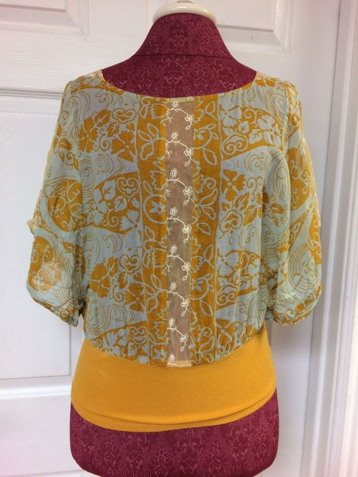 Free People Yellow & Aqua Blue Floral Mesh Lace Batwing Top Shirt Size 6 Cropped #FreePeople #CropTop