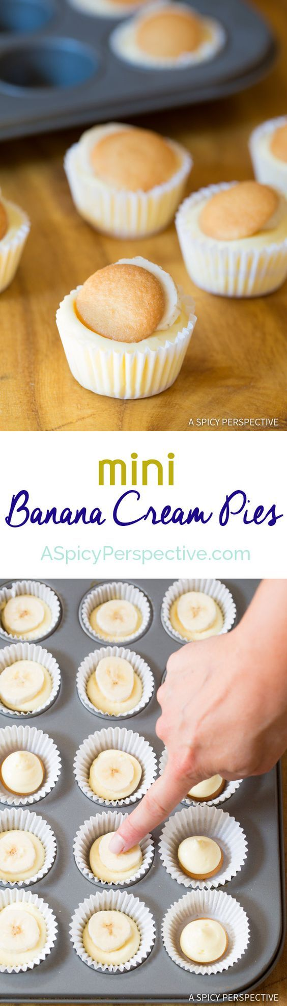 Fun to Make 6-Ingredient Mini Banana Cream Pie Recipe (Banana Pudding Tarts) on ASpicyPerspective...