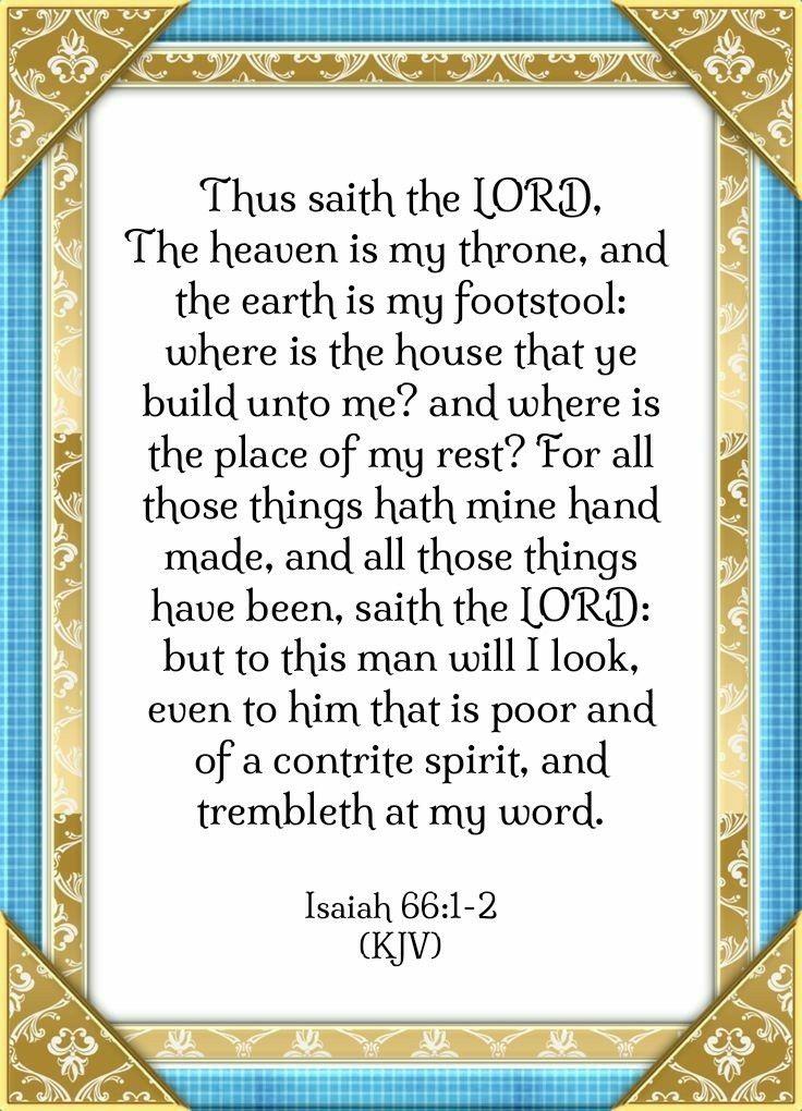 Isaiah 66 1 2 Kjv Prayer For Son Biblical Verses Prophets Of