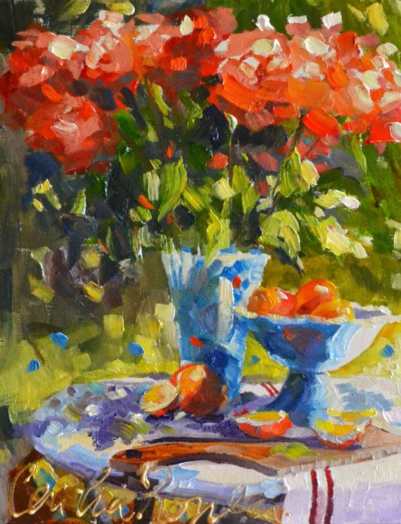 ROSE TABLE Art Print of Original Oil Painting by CECILIAROSSLEE, $20.00