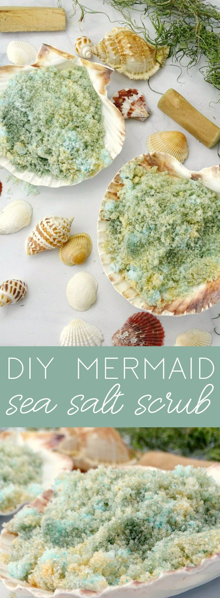 Let your inner mermaid shine with this DIY Mermaid Sea Salt Scrub that gently exfoliates, moisturizes, and gives your skin a summer glow!