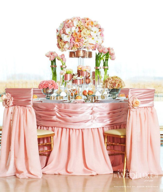 peach, blush, pink tablescape via WedLuxe.com, Producer: Distinct Occasions, Photo: Stephen Sager from Sager Weddings, Decor: Simply Beautiful Decor, Floral Designer: My Bouquet