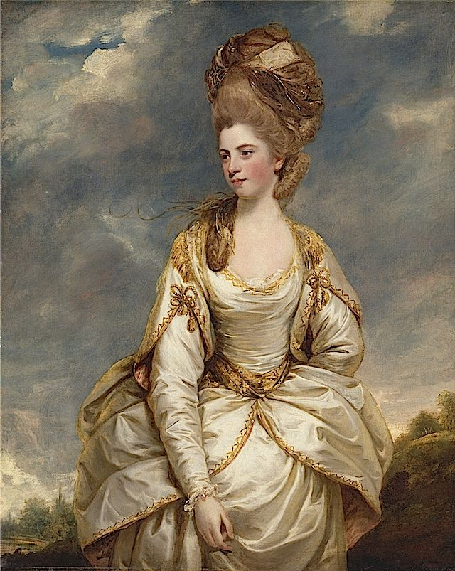 Sir Joshua Reynolds, Sarah Campbell 1777/1778  New Haven, Connecticut, Yale Center for British Art; This stunning portrait shows details of late 1700s British-not-so-casual dress, particularly the towering coiffure and cap, the use of hold trim, the notched over-sleeves, and her billowing over-skirt. High straight coiffure, cap, scoop neckline, modesty piece, lace, elbow length notched over-sleeves, long tapered under-sleeves, cuffs, waist band, down turned waistline.