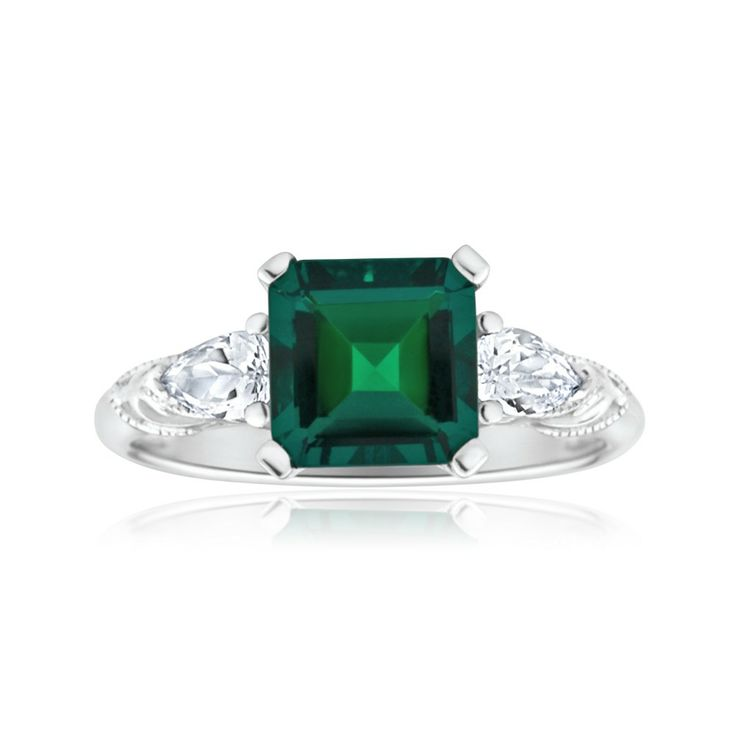 Created Emerald and Zirconia Ring in 9ct White Gold ($199.00) from Shiels.com.au