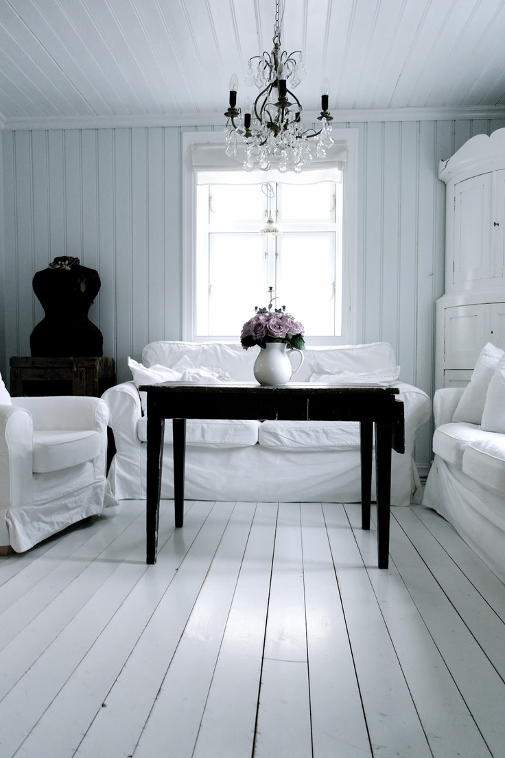 Painted hardwood floors  bedrooms at the cottage