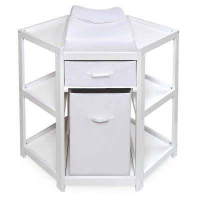 Badger Basket Diaper Corner Baby Changing Table with Hamper and Basket - 22009