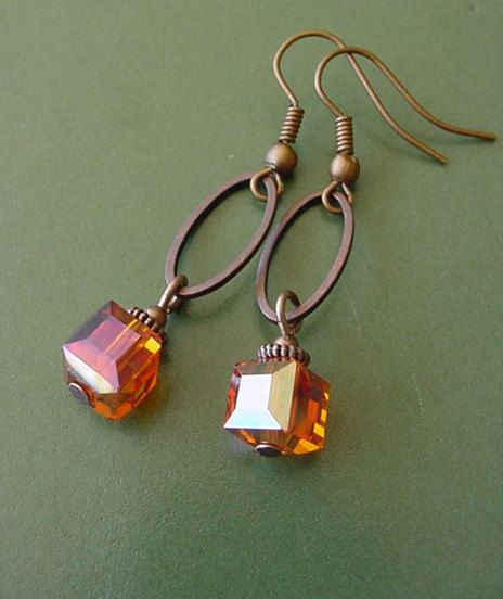 Items similar to Bonfire Style 1 // Orange Crystal Cube / Antique Copper Finish Dangle Earrings on Etsy