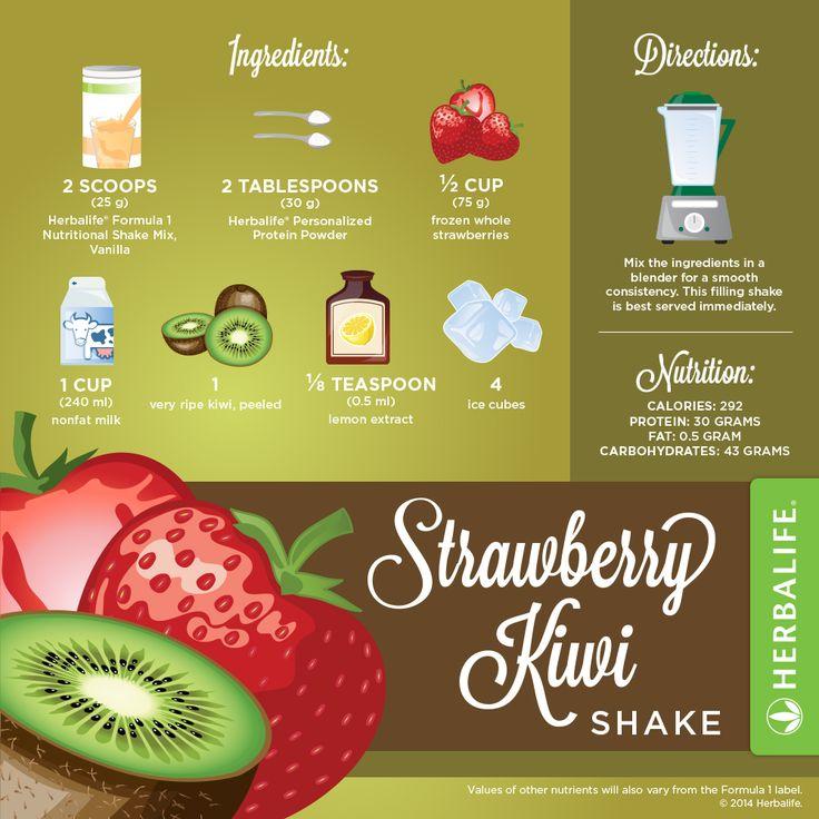 Recette Shake Formula 1 vanille Herbalife Fraise & Kiwi                                                                                                                                                      Plus