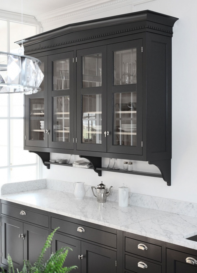 Black Kitchen Cabinet ~ Love these along with the glass doors! Would have to change color or floor to a lighter wood