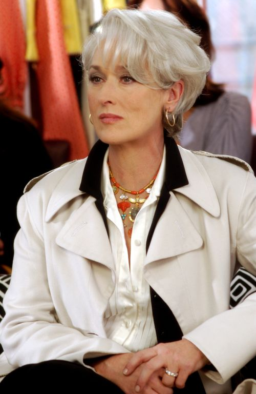 """The Devil Wears Prada (2006) - Meryl Streep """"Love this movie, for the clothes and especially for Meryl Streep's hair style. Just love it. """""""