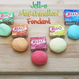 Jell-O Marshmallow Fondant: per color     2 oz Marshmallows     1/4 lb Powdered Sugar     4 tsp. Jello Mix     Little bit of water
