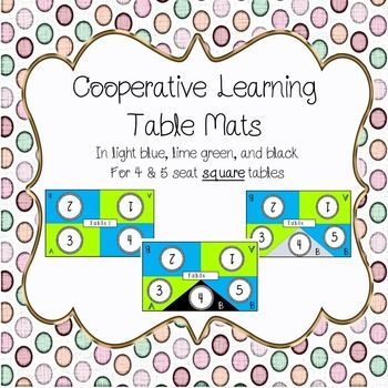 Table mats to aid in cooperative learning - in light blue, lime, and rainbow. Accommodates up to 5 students. Students each have their own number and can be split up into pairs using the A and B labels. This template includes to options for 5 seater tables.