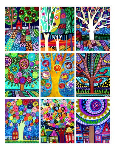 Landscape Art ACEO card print set  Trees Folk by HeatherGallerArt, $18.00