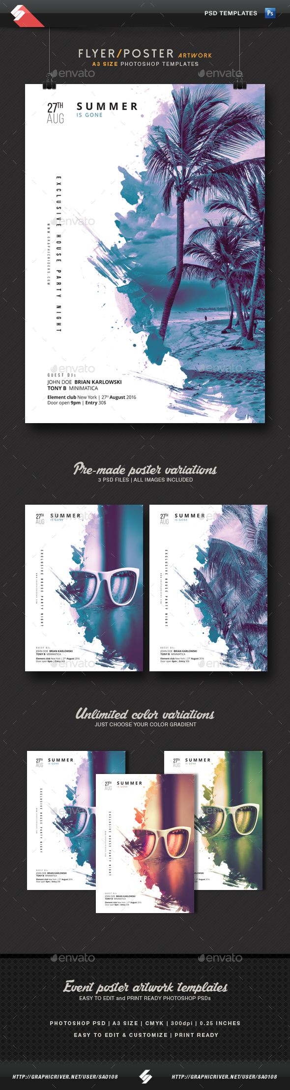 Summer Is Gone - Party Flyer / Poster Artwork  A3  PSD Template • Download ➝ https://graphicriver.net/item/summer-is-gone-party-flyer-poster-artwork-template-a3/17109879?ref=pxcr
