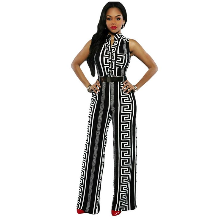 Echoine Wide Leg Women Jumpsuit Fashion Black Print Gold Belted Overalls Long Trousers Outfits  Ladies Playsuits  #Affiliate