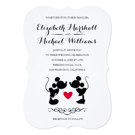 Mickey & Minnie Wedding | Silhouette Invitation - click/tap to personalize and buy