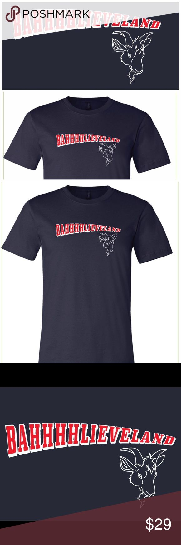 Unisex Bahhhhlieveland Cleveland Indians Bella T The Curse of the Billy Goat stays... because we're BAHHHHLIEVELAND. Show your Cleveland Indians World Series pride with this soft, unisex, well-loved feeling tee in 100% cotton. Get ready to Go Tribe! CLE Threads Shirts Tees - Short Sleeve