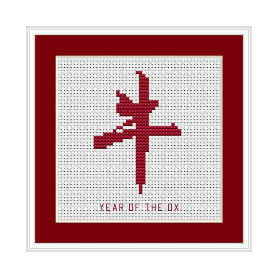 Year of the Ox Chinese Zodiac Cross Stitch by HollysHobbiesUK