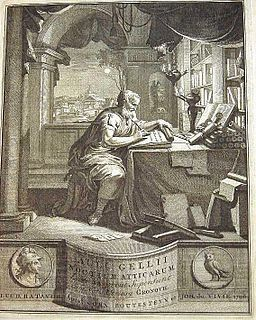 Aulus Gellius (c. 125 – after 180 AD) was a Latin author and grammarian, who was probably born and certainly brought up in Rome. He was educated in Athens, after which he returned to Rome, where he held a judicial office. He is famous for his Attic Nights, a commonplace book, or compilation of notes on grammar, philosophy, history, antiquarianism, and other subjects, preserving fragments of the works of many authors who might otherwise be unknown today.