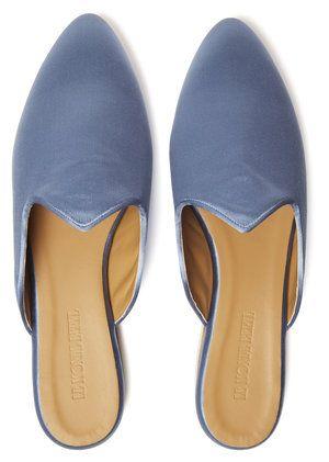 Vivid Blue Venetian Satin Slippers