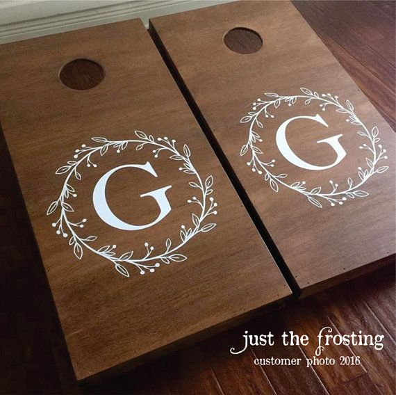 Corn Hole Board Decals  Wedding Decor Rustic  by JustTheFrosting
