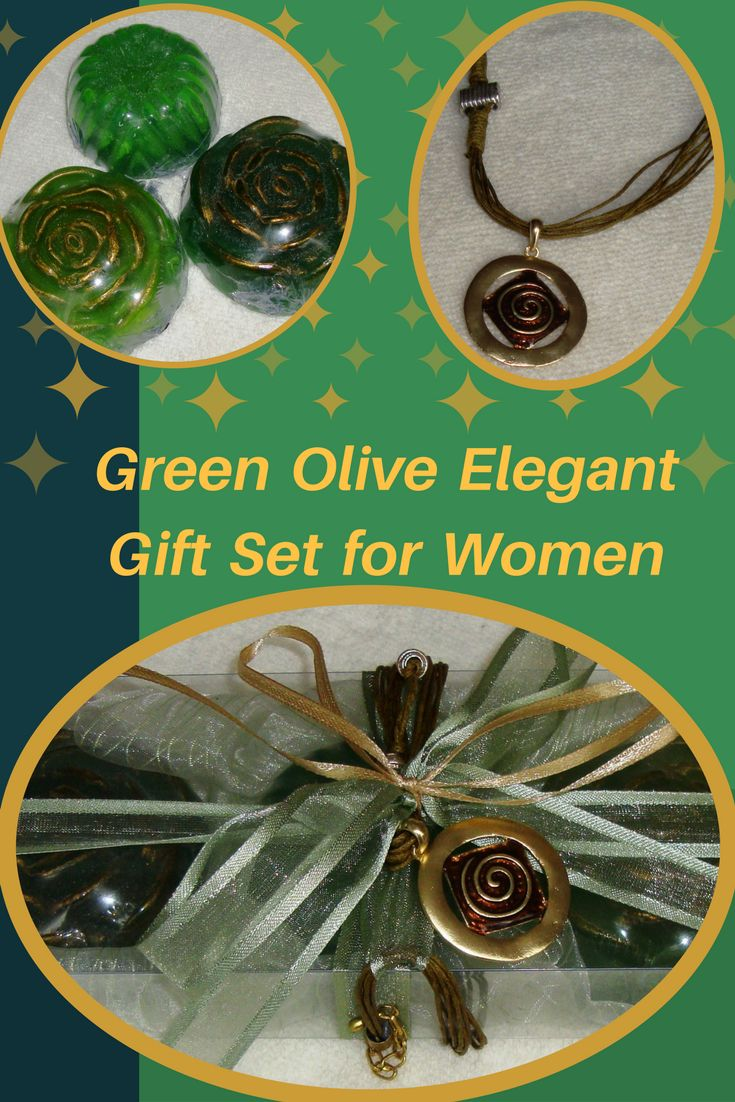 Green Olive Elegant  Handmade Gift Set for Women: Three Green Colour Scented Luxury Soaps, with a lovely Gold & Green-Olive-Chocolate Jewelry Necklace in the packaging.