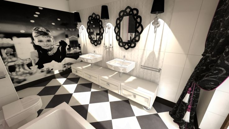 Aranżacja łazienki w czarno-białej tonacji