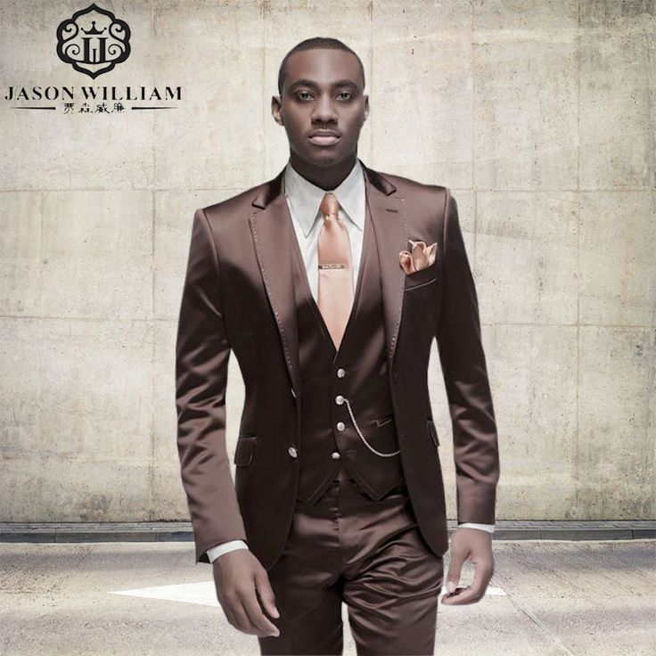 LN128 Brown Satin Men Suit Formal Italian Design Tuxedo Custom Stylish 3 Piece Blazer Masculino 2017 (Jacket+Pants+Vest+Tie) #Affiliate