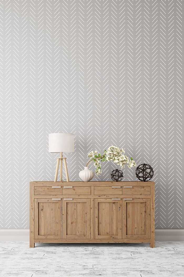 Herringbone simple - Large decorative Scandinavian wall stencil for DIY projects - Wallpaper look - Easy home decor by StenCilit on Etsy https://www.etsy.com/listing/271586969/herringbone-simple-large-decorative