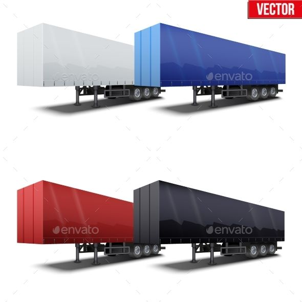 Set of Blue Parked Semi Trailer