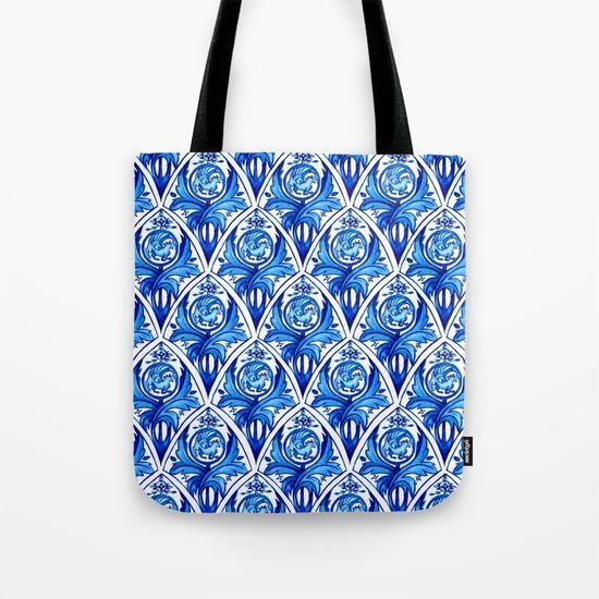 Renaissance gryphon seamless pattern Tote Bag by Erika Biro | Society6