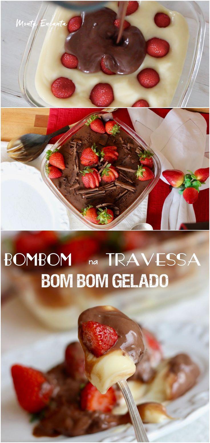 Bombom na Travessa, Generosa camada de brigadeiro branco cremoso, intercalado por pedaços de morangos orgânicos frescos e coberto ganache de chocolate TOP10