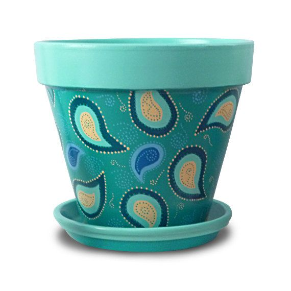 Paisley Peacock Flower Pot in Aqua Blue by MicheleCordaroDesign, $22.00