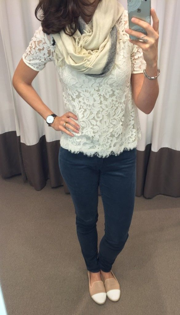 @LOFT lace tee, teal corduroys, fringe scarf outfit || loftycloset.com