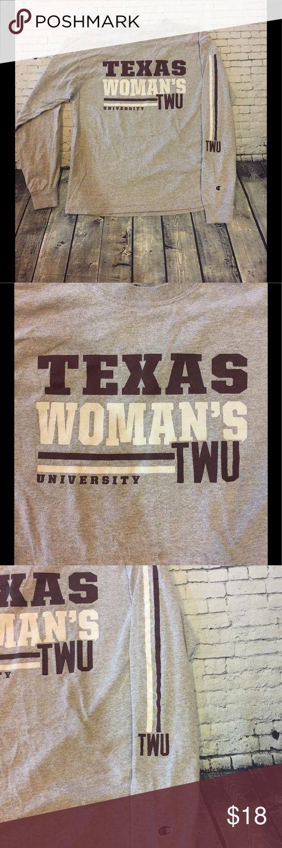 Like New! Champion TWU long sleeve tee, size M!!! Champion Texas Woman's University long sleeve tee, size M!!! Like New!!! 🎆🎆🎆 Champion Tops Tees - Long Sleeve