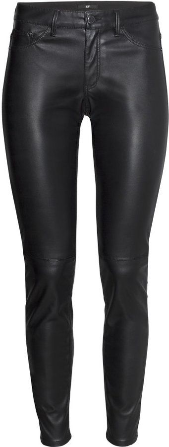 H&M Imitation Leather Pants - Black - Ladies on shopstyle.com